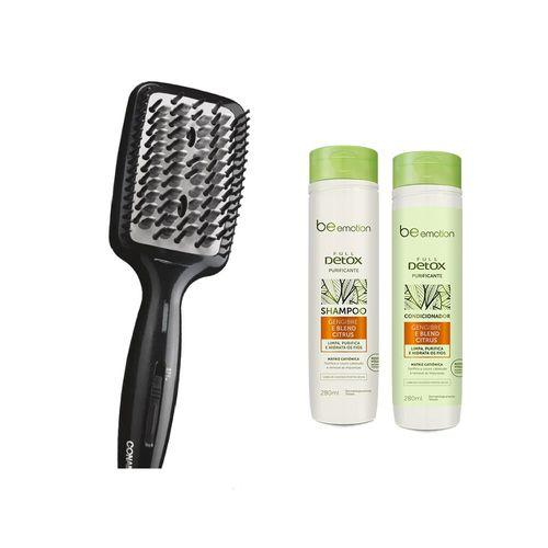 Escova Elétrica Alisadora Diamond Brilliance Conair + Shampoo e condicionador detox  de presente