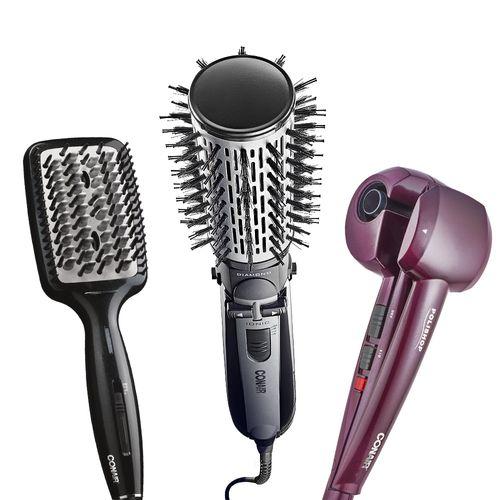 Trio Conair - Modelador De Cachos Hair Styler + Escova Rotating Air Brush Diamond Brilliance + Escova Elétrica Alisadora Diamond Brilliance