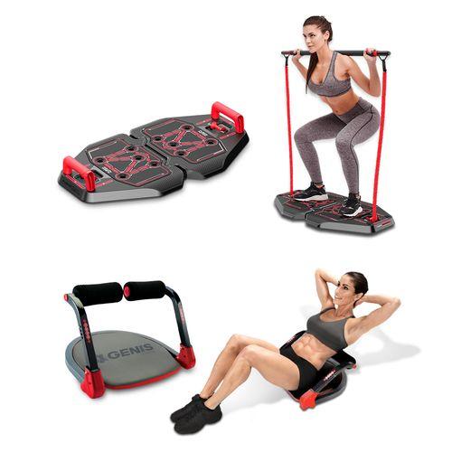 Genis Fitness Plataforma de Exercícios Transformer Full Body Station + Plataforma Abdominal Ab Max Genis