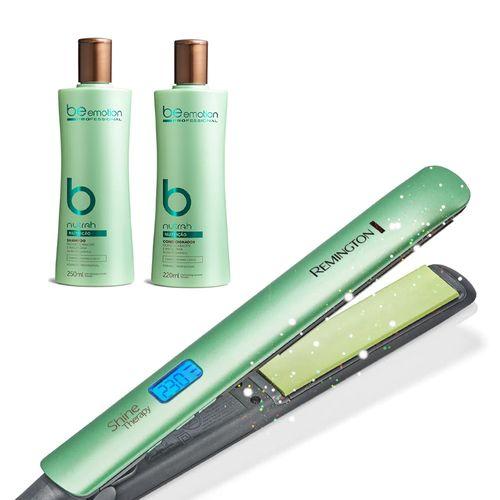 Prancha Shine Therapy 2x Remington + Shampoo Nutrah + Condicionador Nutrah